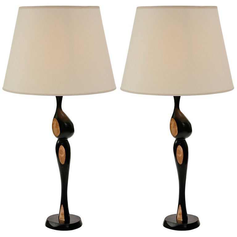Pair of Tall Bronze Lamps by Jacques Jarrige For Sale