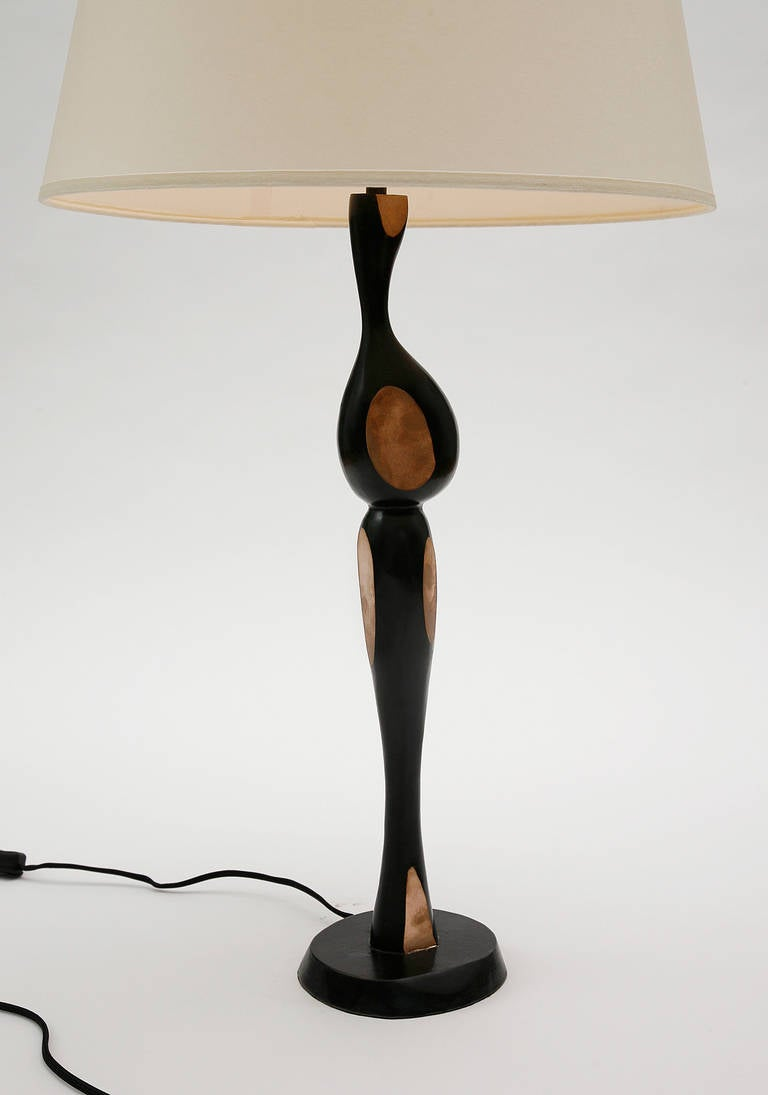 Contemporary Pair of Tall Bronze Lamps by Jacques Jarrige For Sale