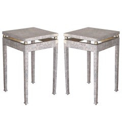 Pair Of Eggshell Lacquered Tables