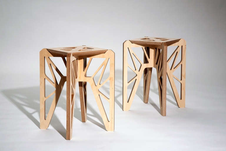 6 stools by French artist Adrien De Melo who is having his premiere exhibition this fall at Valerie Goodman Gallery. Organic constructions in birch. based on the architectural principal of the St Andrew cross.  Simple and accessible Available