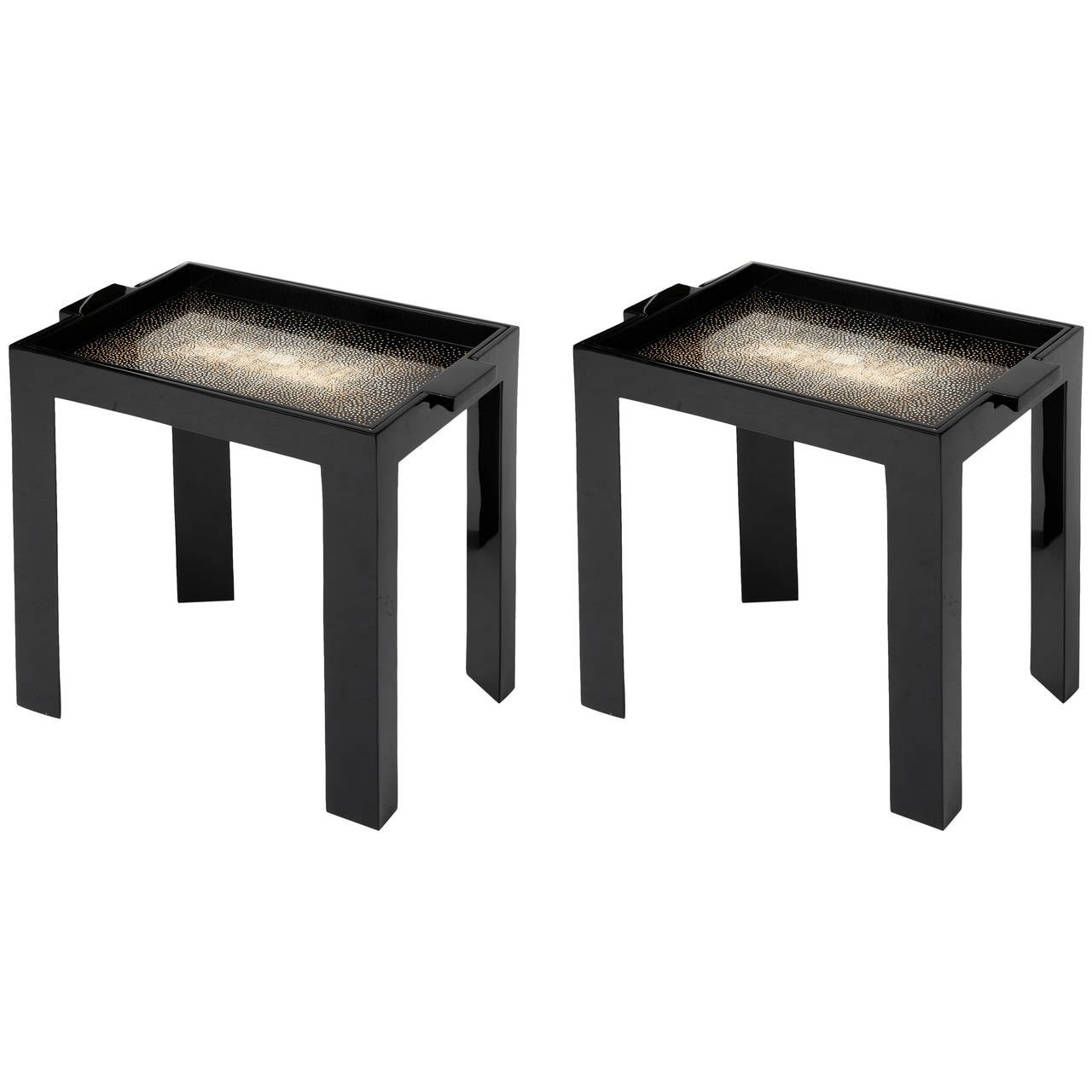 Contemporary Pair of Eggshell and Lacquer Table Trays For Sale