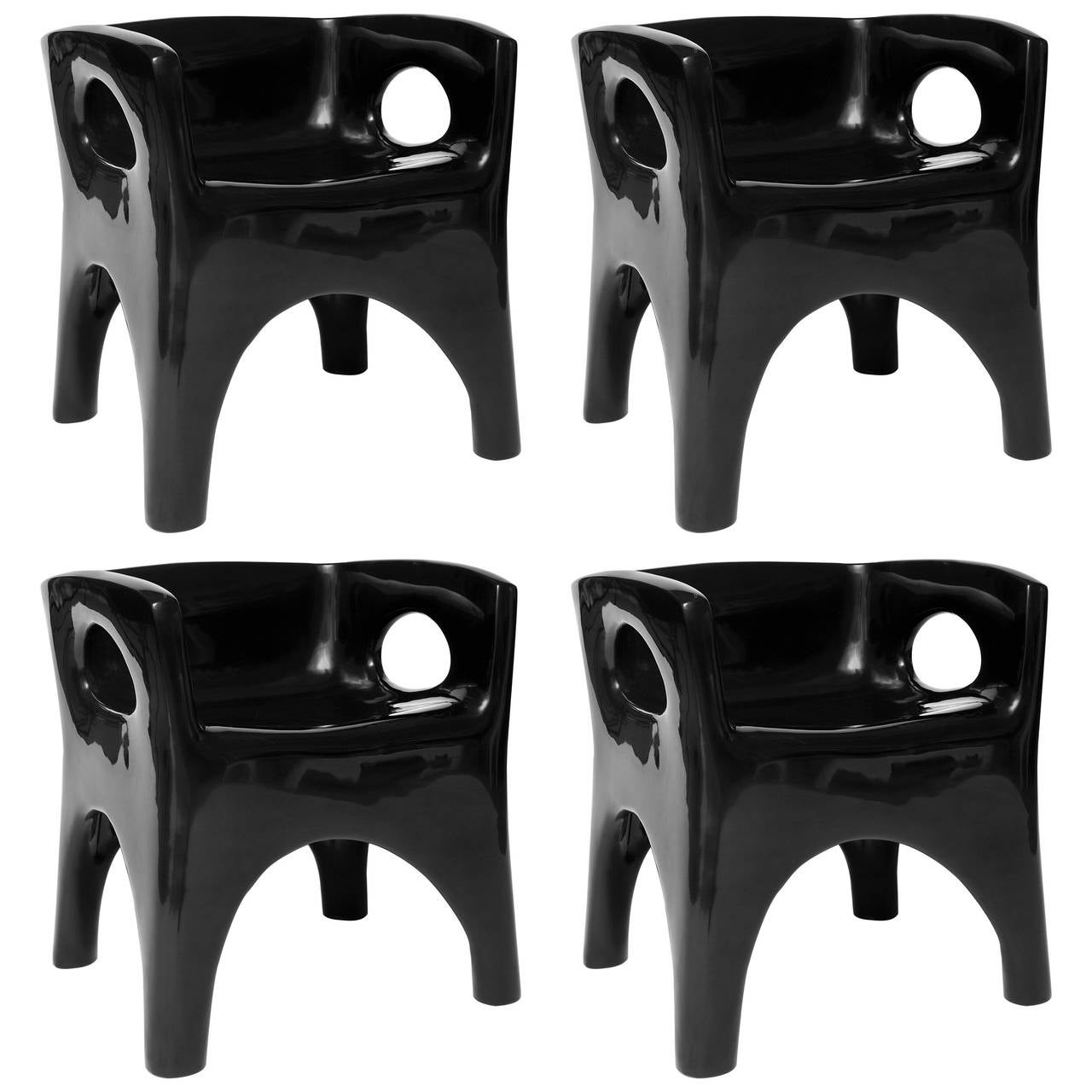 Two Pairs of Sculpted and Lacquered Armchairs by Jacques Jarrige, 2015
