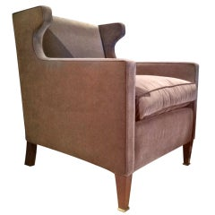 Jacques Quinet Attributed Pair of Chic Arm Chair Newly Covered in Velvet