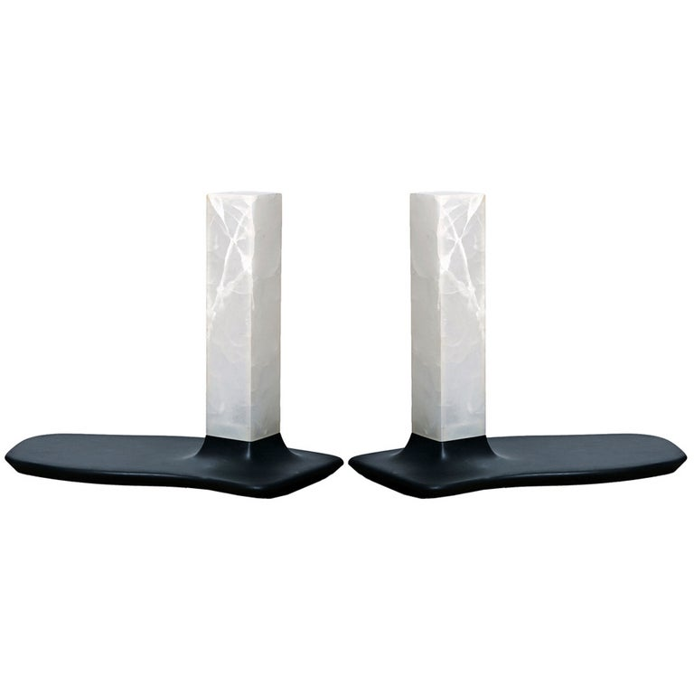 Onyx and Slate Table Lamps by Adrien de Melo For Sale