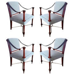 Maison Ramsay Signed Pair of 1940's Neo Classic Pair of Chairs