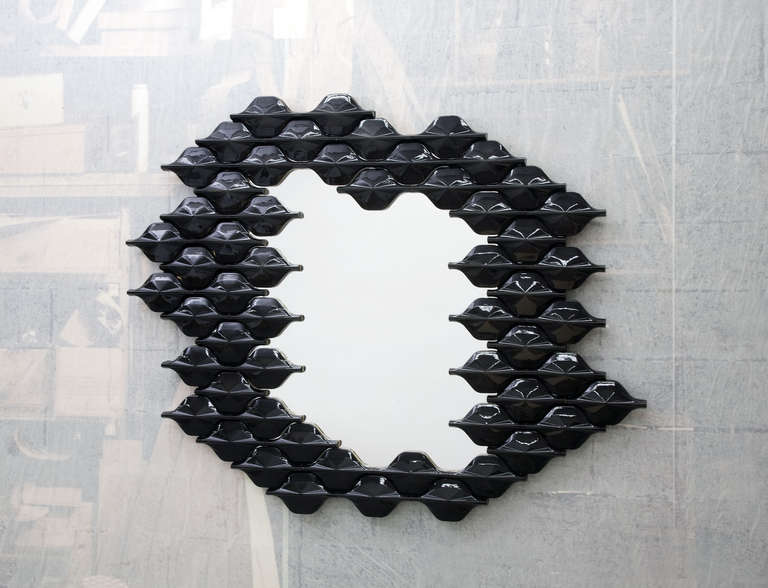 French Ceramic Tiled Mirror For Sale