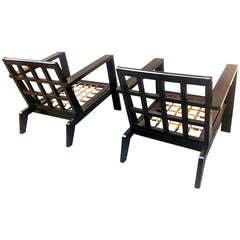 Rene Gabriel Rare Pair Of Lounge Chairs In Black Lacquered Wood