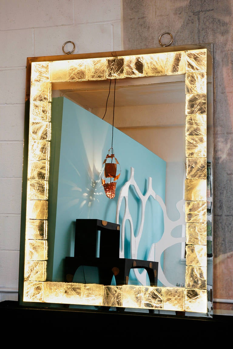 Rock Crystal Mirror with Light by Andre Hayat For Sale 1