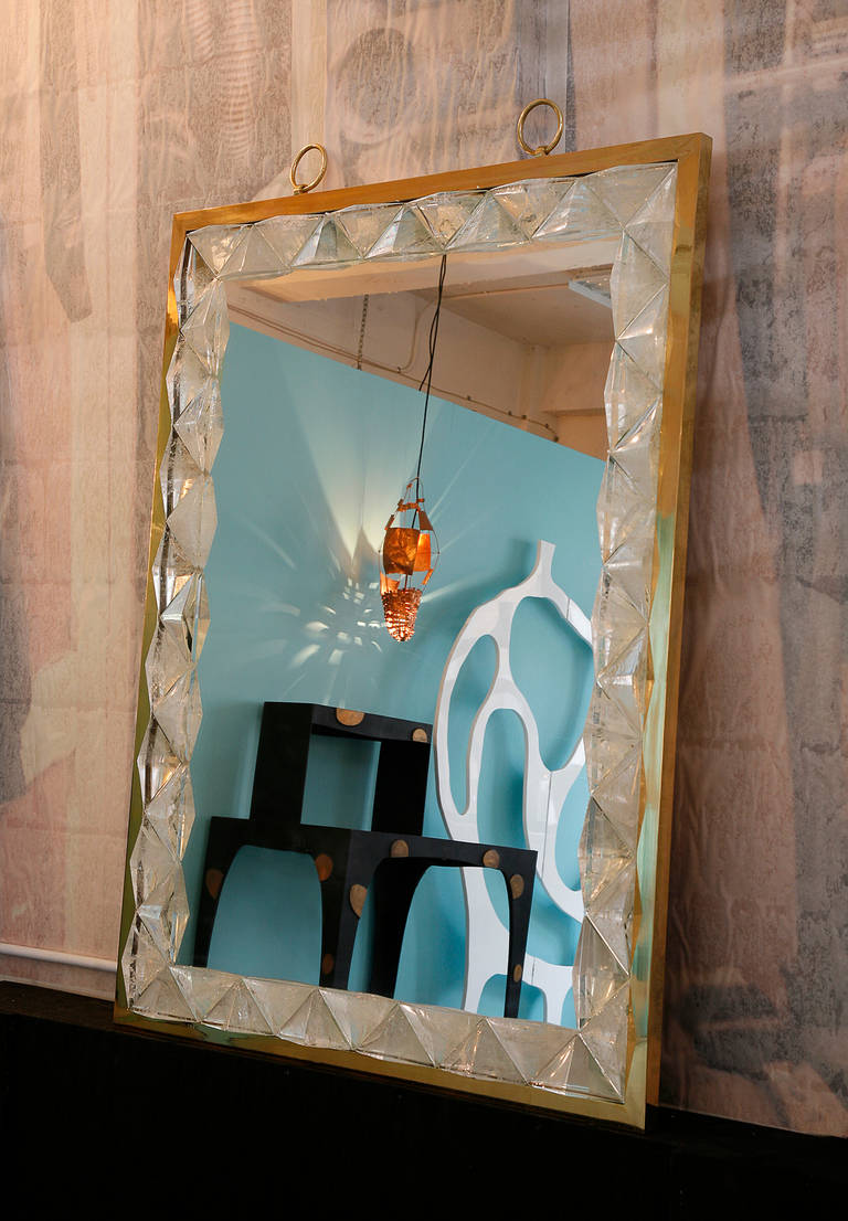 Mirror with Rock Crystal Frame by Andre Hayat In Excellent Condition For Sale In New York, NY
