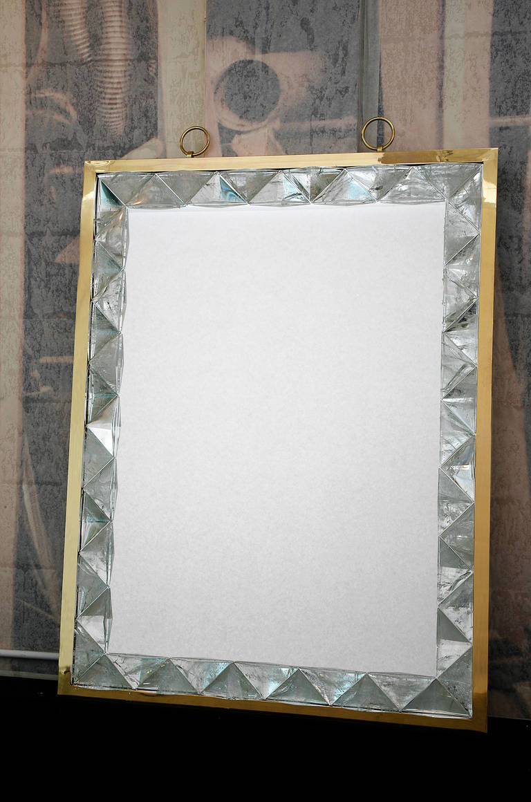 French Mirror with Rock Crystal Frame by Andre Hayat For Sale