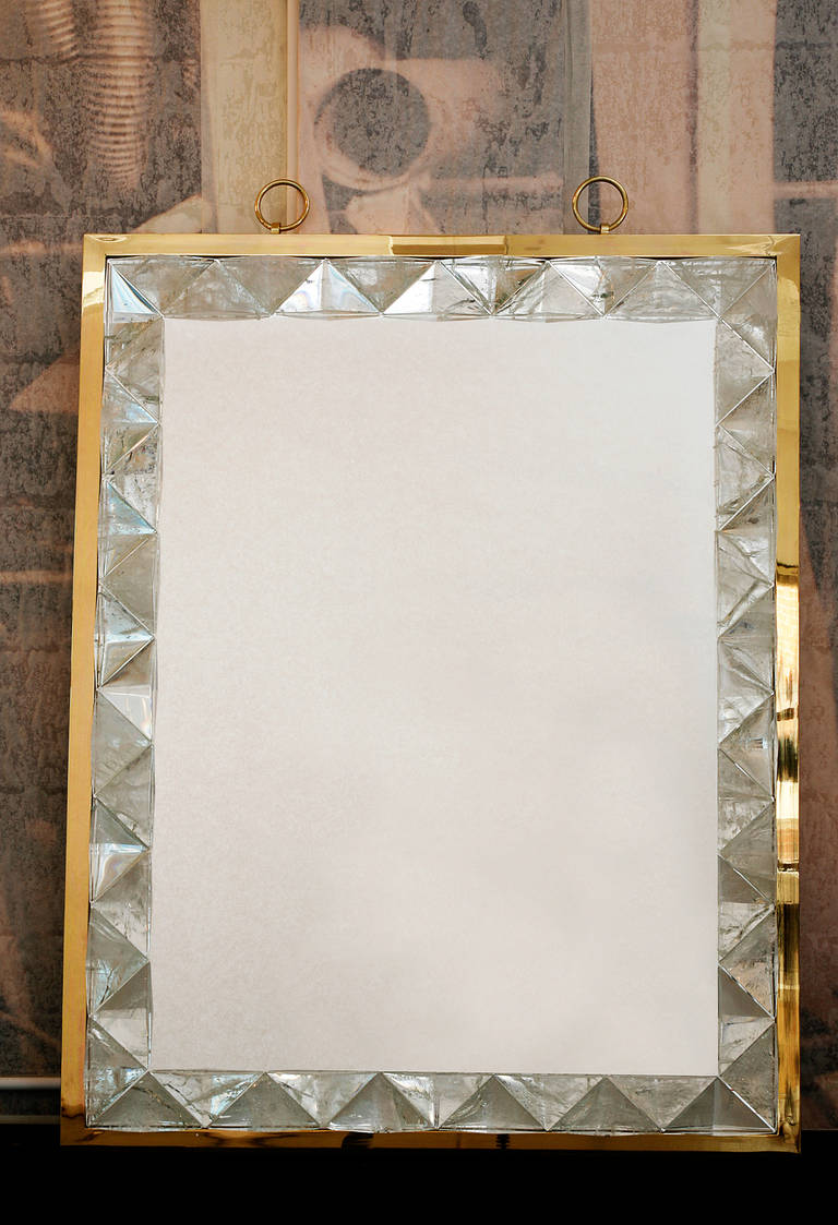 Very Chic Mirror Framed With Pieces Of Rock Crystal Carved Triangularly And On The Exterior A