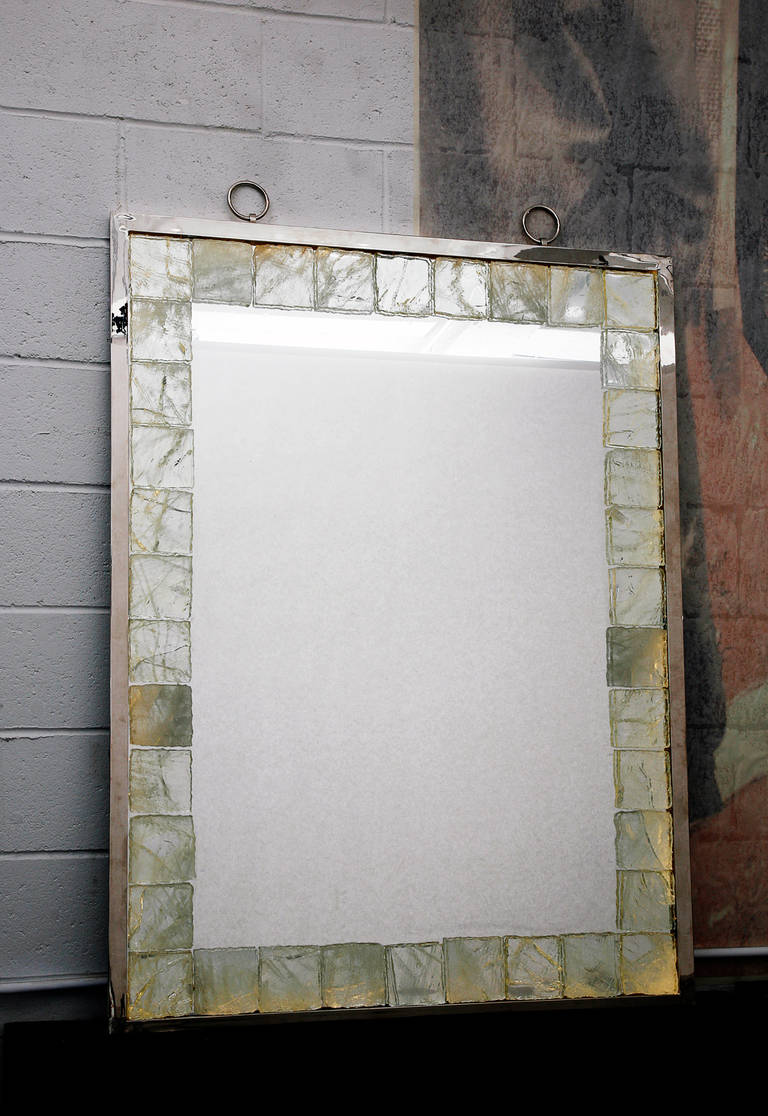 French Rock Crystal Mirror with Light by Andre Hayat For Sale