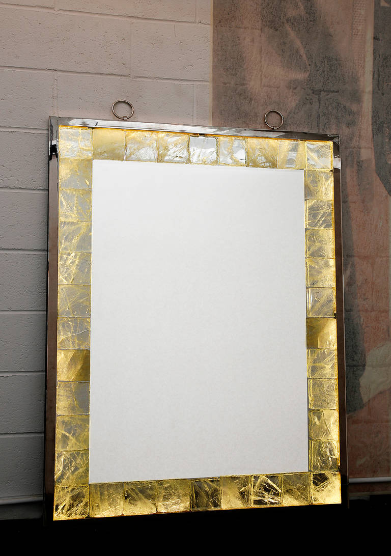 Rock Crystal Mirror with Light by Andre Hayat In Excellent Condition For Sale In New York, NY