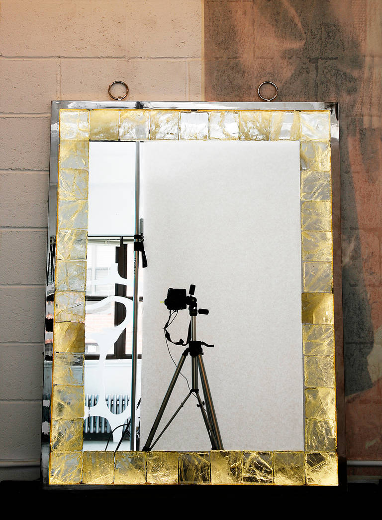 Contemporary Rock Crystal Mirror with Light by Andre Hayat For Sale