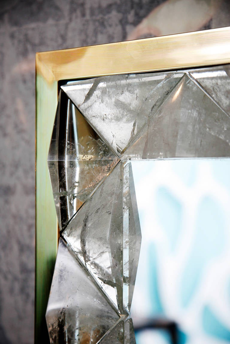 Mirror with Rock Crystal Frame by Andre Hayat For Sale 2