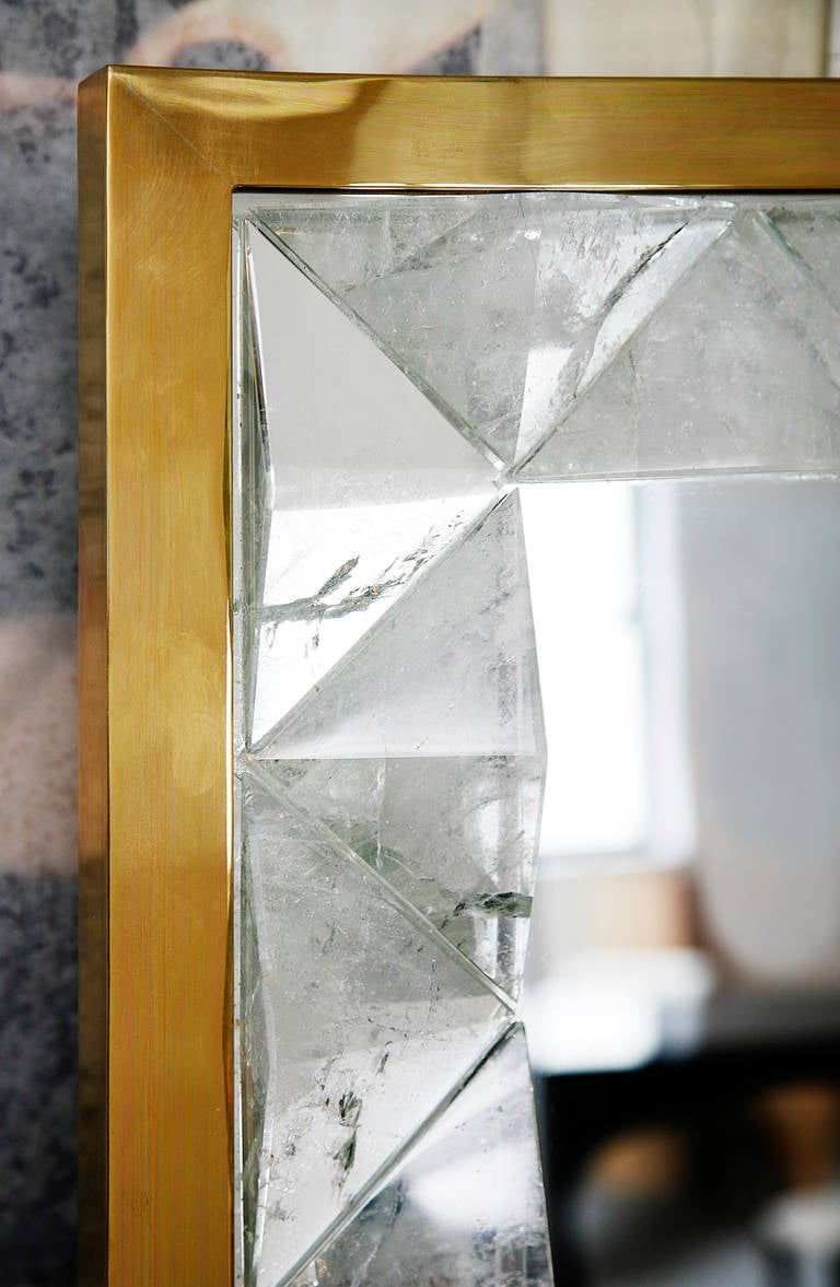 Mirror with Rock Crystal Frame by Andre Hayat For Sale 1