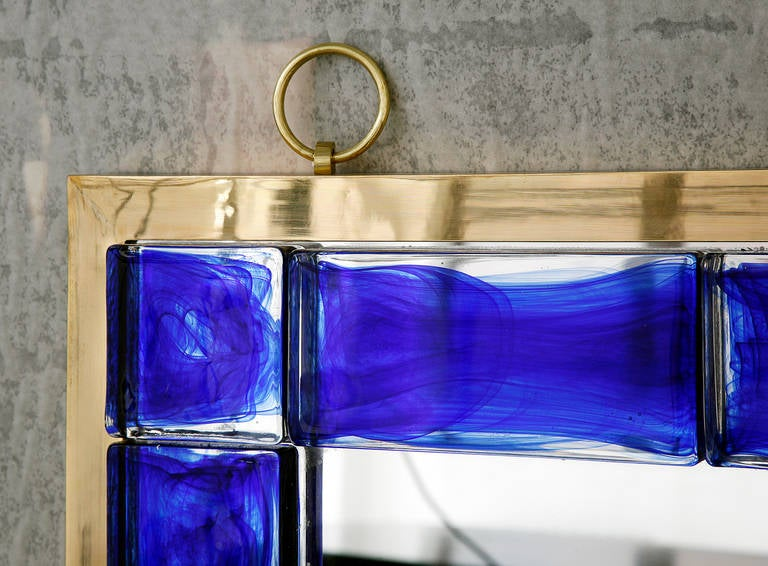 Blue Glass Mirror by Andre Hayat In Excellent Condition For Sale In New York, NY