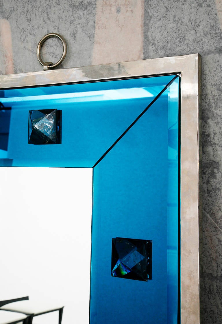 Contemporary Blue Glass and Rock Crystal Mirror by Andre Hayat For Sale