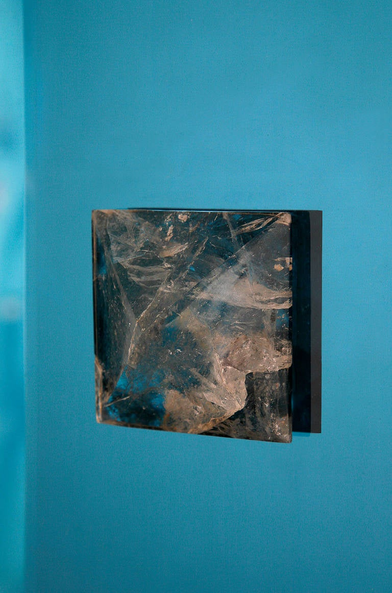 Blue Glass and Rock Crystal Mirror by Andre Hayat For Sale 2