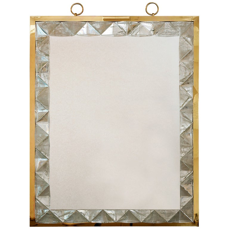 Mirror with Rock Crystal Frame by Andre Hayat For Sale