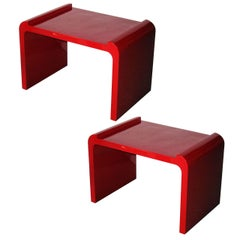 Pair of Red Lacquer Benches