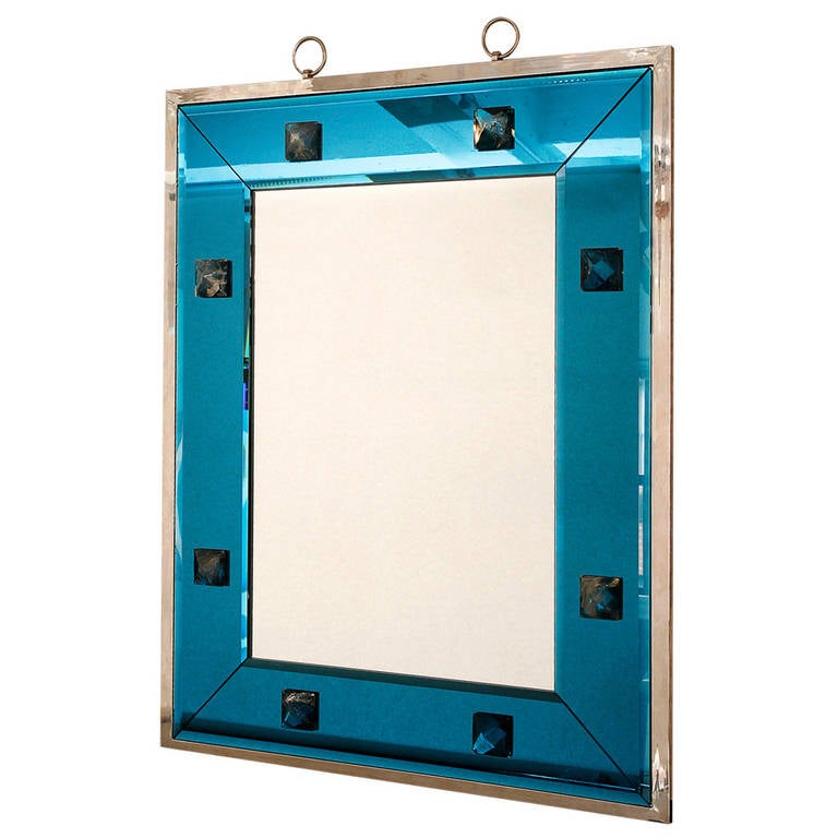 Blue Glass and Rock Crystal Mirror by Andre Hayat For Sale