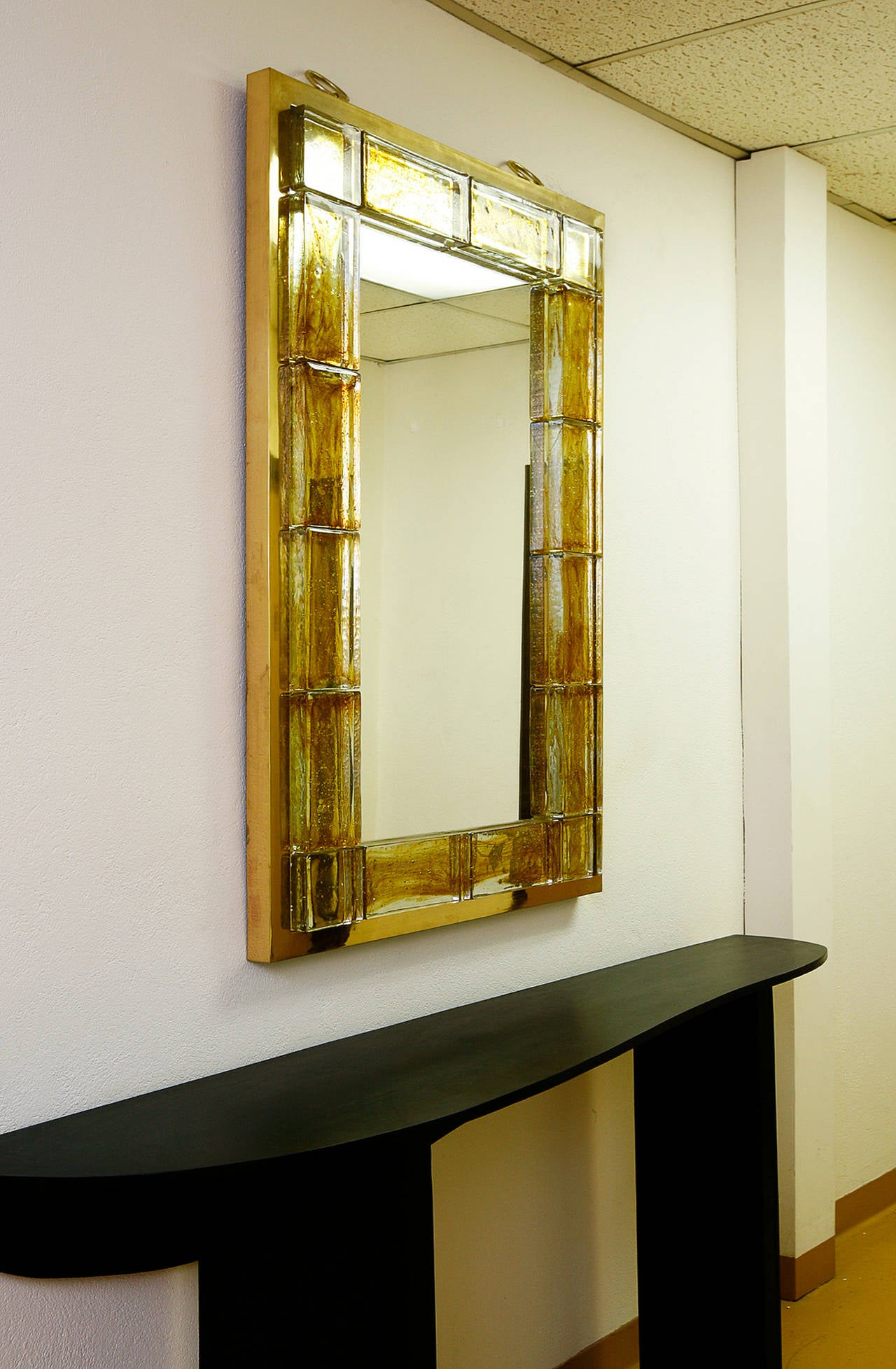 French Amber Glass Mirror by Andre Hayat For Sale