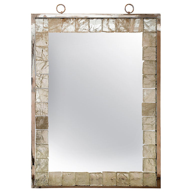Rock Crystal Mirror with Light by Andre Hayat For Sale