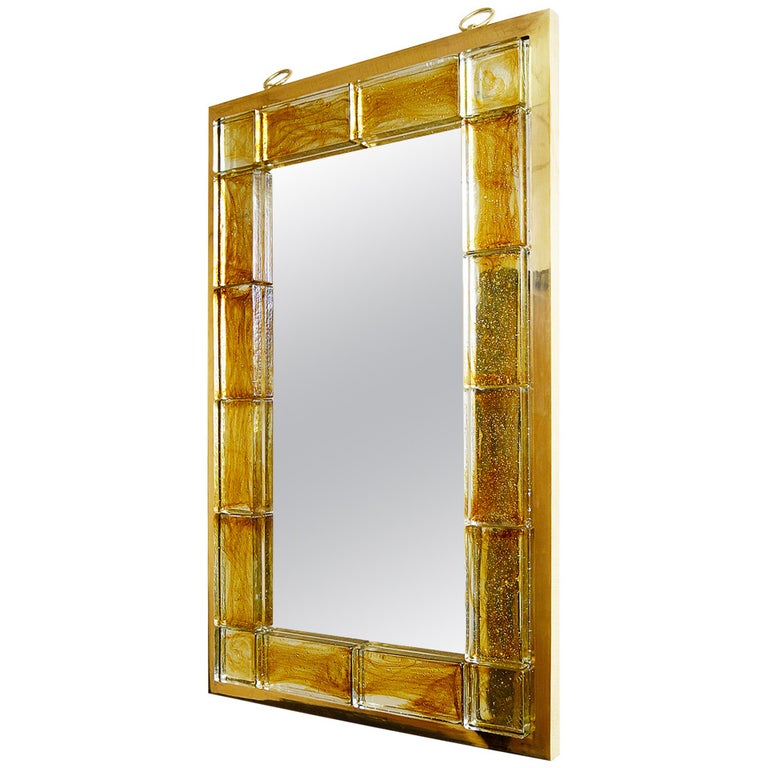 Amber Glass Mirror by Andre Hayat For Sale