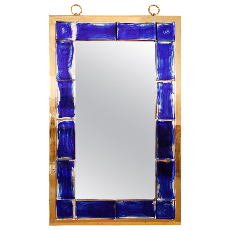 Blue glass mirror by andre hayat for sale at 1stdibs for Glass mirrors for walls