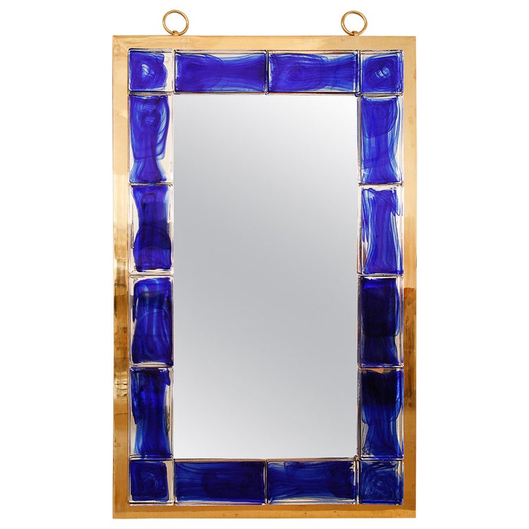 Blue Glass Mirror by Andre Hayat For Sale