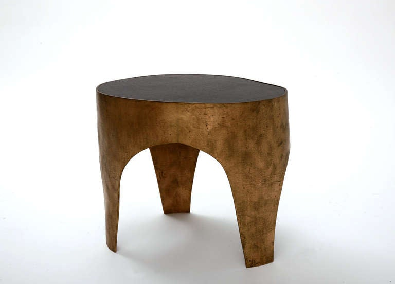 Unique side table in bronze and ebony by jacques jarrige for Unique side tables
