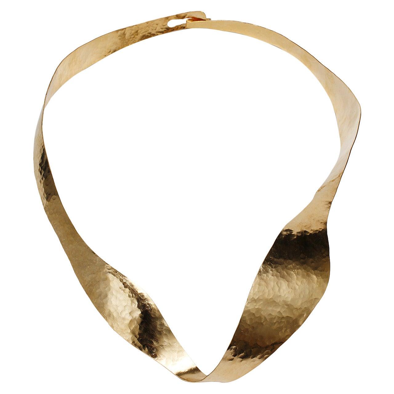Gold Sculpture Necklace by Jacques Jarrige, 2014