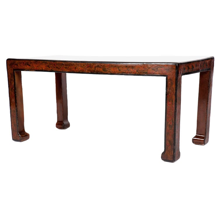 Chinese Export Lacquered Low Table With Dragon Motifs At 1stdibs