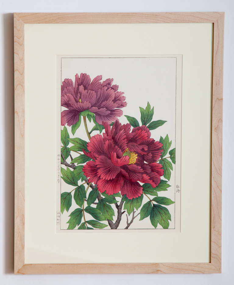 1930 hair styles japanese showa botanical print of peonies for at 1stdibs 8457