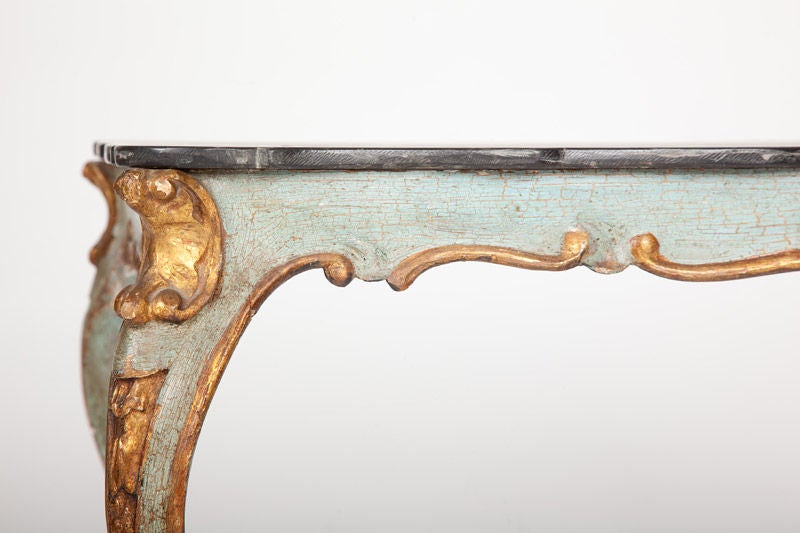 Italian Rococo Scagliola Table Top on Painted and Gilded Base For Sale 2