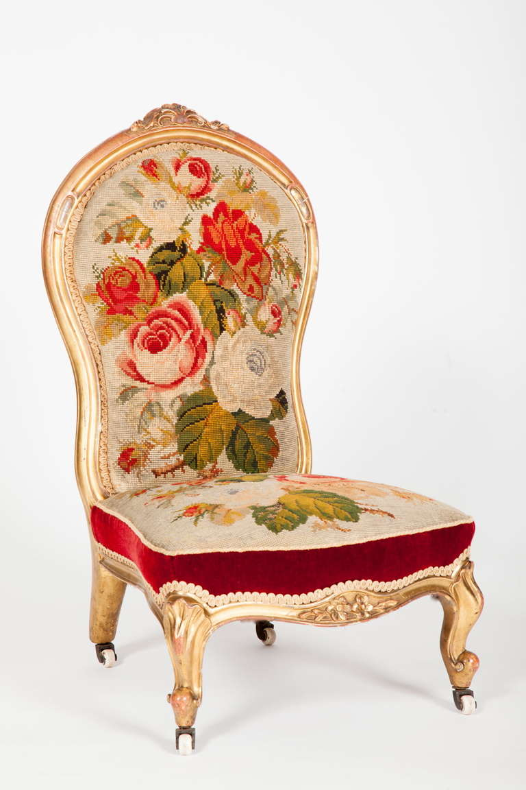 English Victorian Rococo Revival Slipper Chair 2