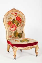 English Victorian Rococo Revival Slipper Chair image 2
