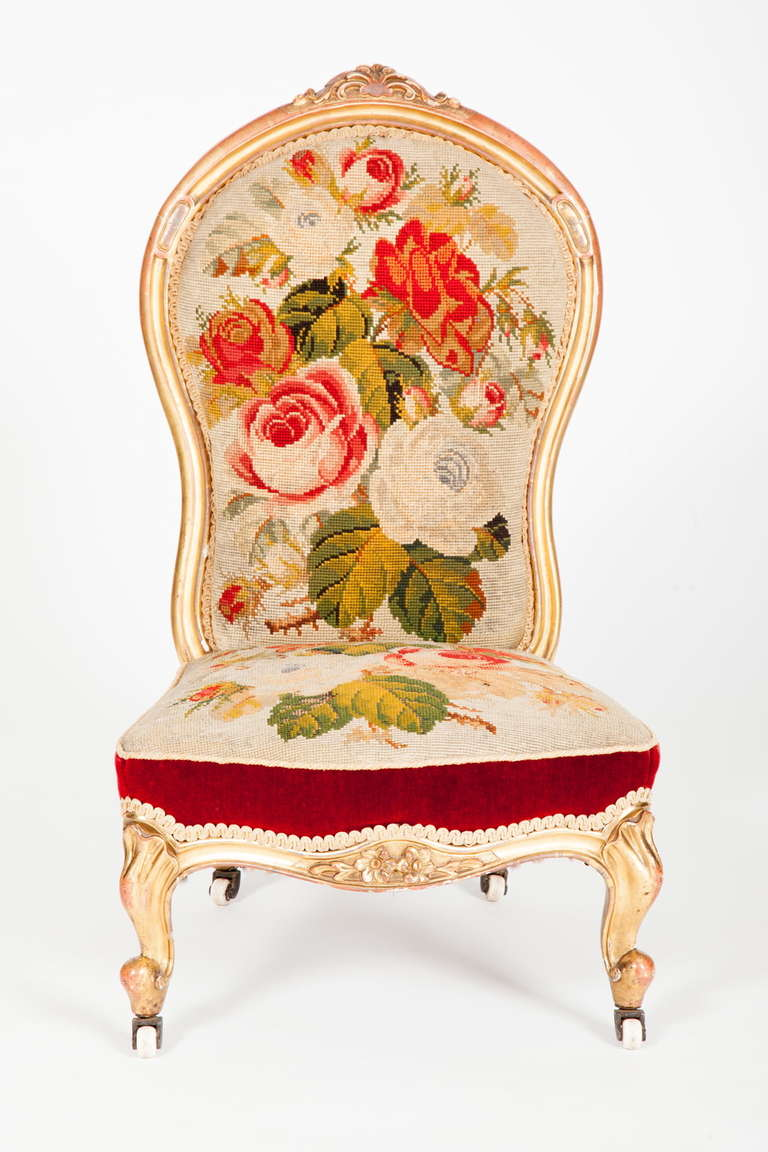 English Victorian Rococo Revival Slipper Chair 3