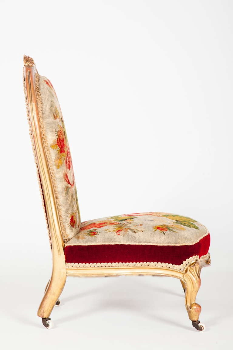 English Victorian Rococo Revival Slipper Chair 4