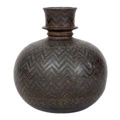 """Indian Bidriware Vase """"Hookah Base"""""""