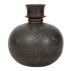 "Indian Bidriware Vase ""Hookah Base"""
