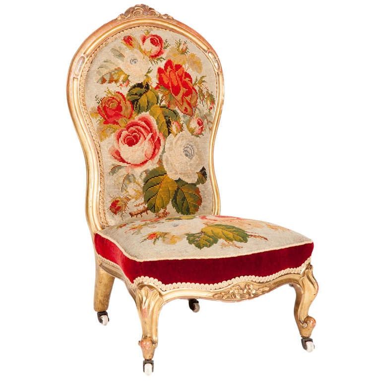 English Victorian Rococo Revival Slipper Chair 1