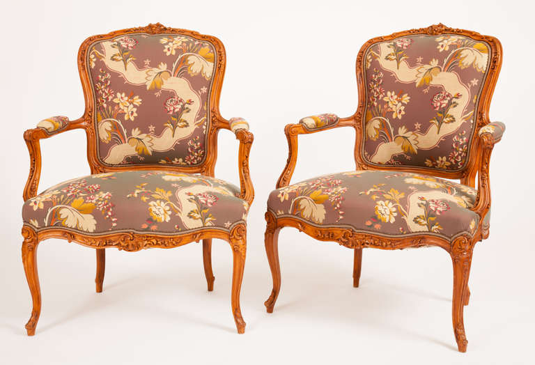 Fine Pair of French Louis XV Style Fauteuils For Sale 4