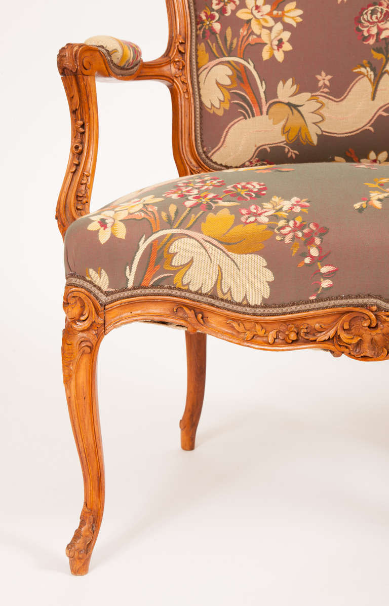 Fine Pair of French Louis XV Style Fauteuils For Sale 2