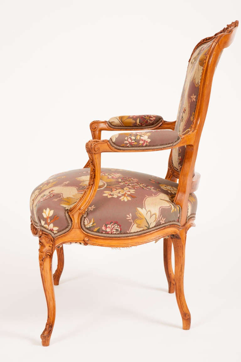 fine pair of french louis xv style fauteuils for sale at. Black Bedroom Furniture Sets. Home Design Ideas