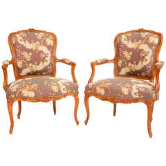 Fine Pair of French Louis XV Style Fauteuils