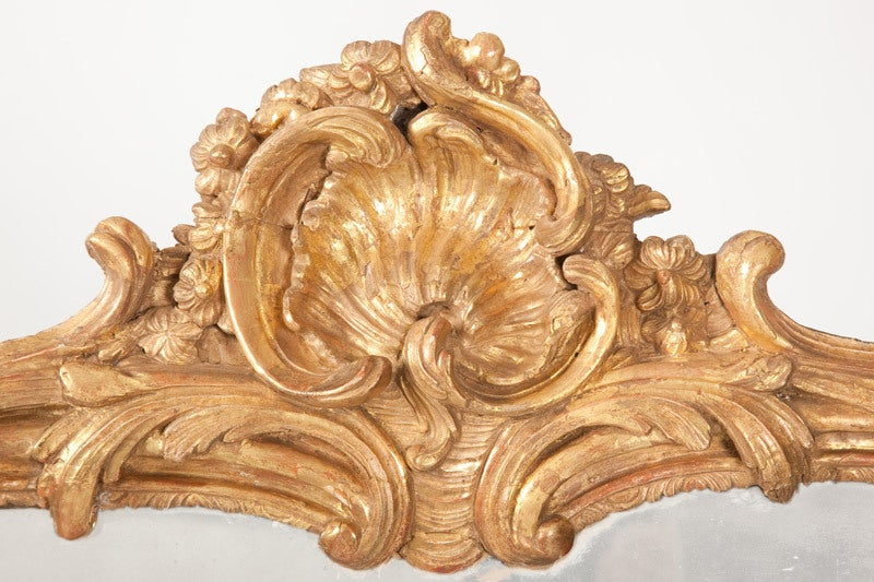 18th Century and Earlier Fine French Louis XV Gilt Wood Mirror For Sale