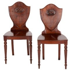 Pair of English Regency Shield Back Hall Chairs