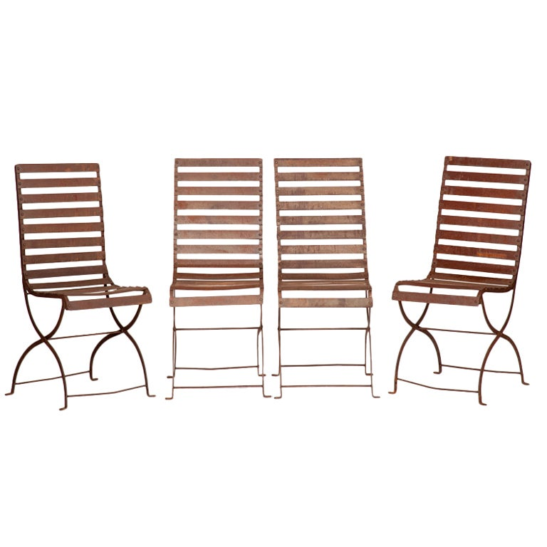 Set of four french iron garden chairs at 1stdibs French metal garden furniture